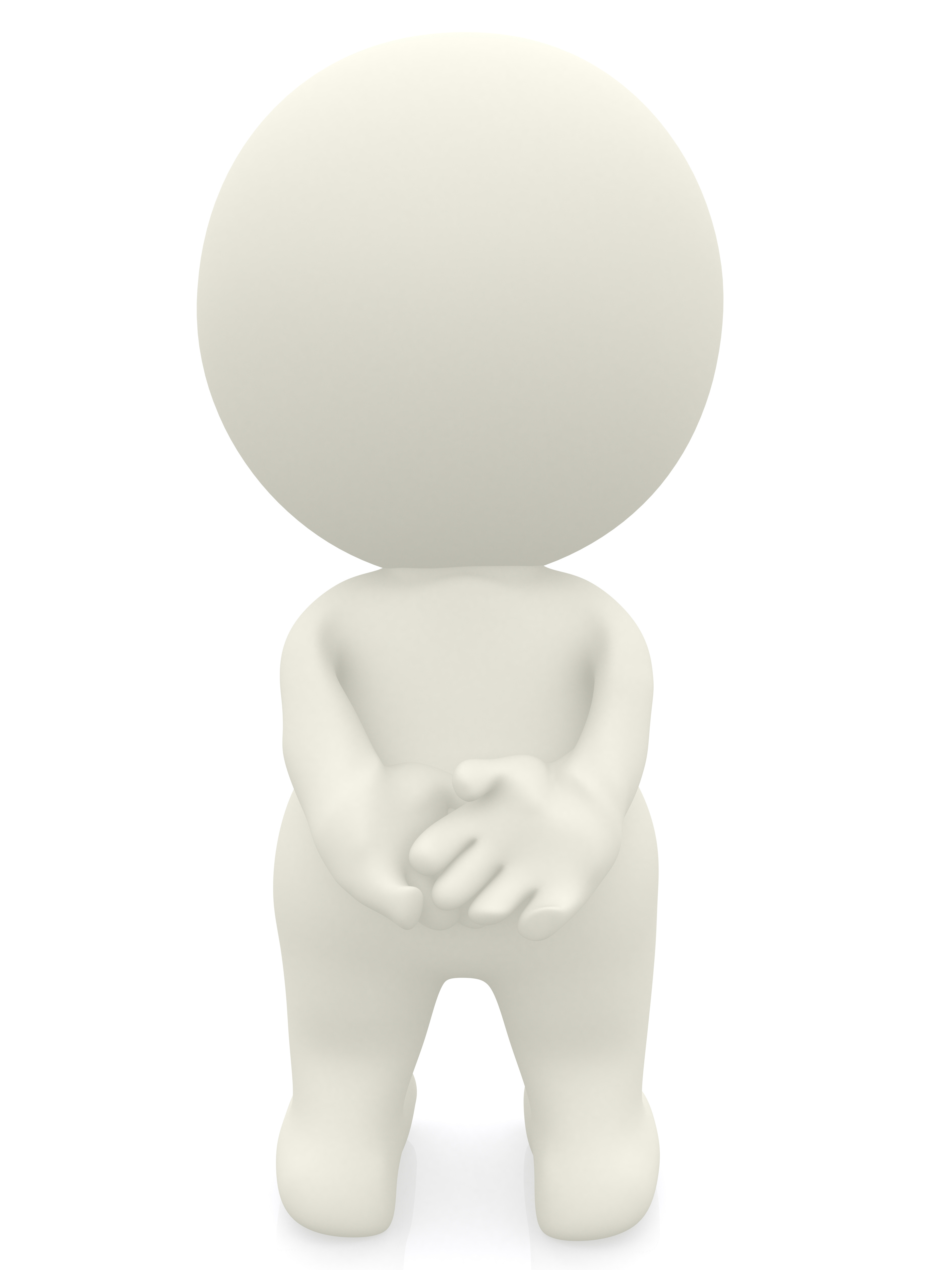 3D person standing with hands behind - isolated over a white backgroun